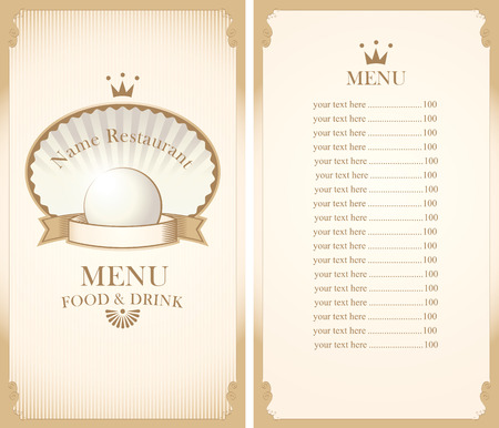 baroque pearl: royal menu for a cafe or restaurant with shell and pearls