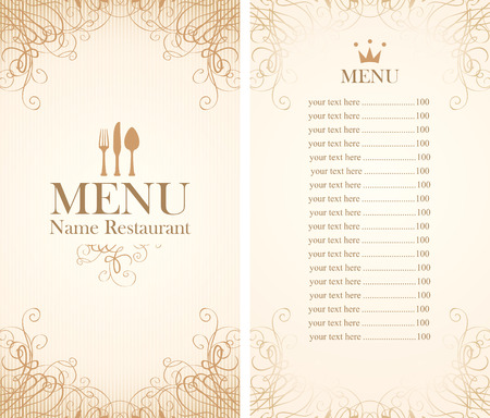retro restaurant: menu for the restaurant in retro style with cutlery