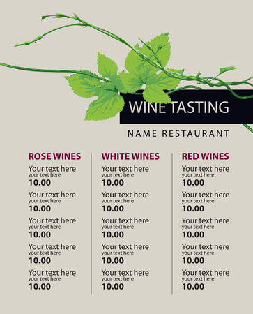 wine background: price list wine list for wine tasting with a branch of grapes