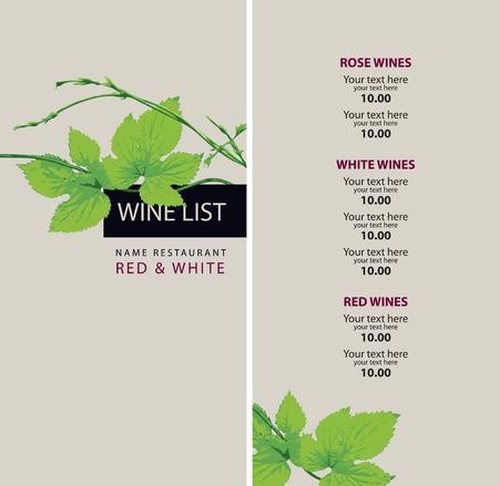Weinkarte mit einem Zweig der Trauben und Preis