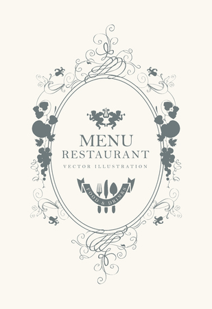 baby cutlery: Frame menu with floral ornaments in style baroque Illustration
