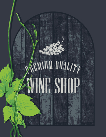 wood creeper: banner for the wine store with a branch of grapes on the background of wooden boards Illustration