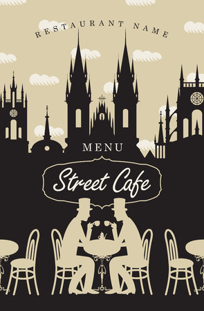 tea cup: Menu for street cafe with the two gentlemen at the table drinking coffee and the old town
