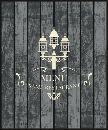 vintage cafe: menu for a cafe or restaurant with a picture of a street lamp on the background of wooden boards