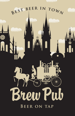 brewery: Vintage banner for the brewery with horse carriage in the old town Illustration