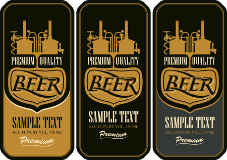brewery: Beer labels with the brewery machine to make beer