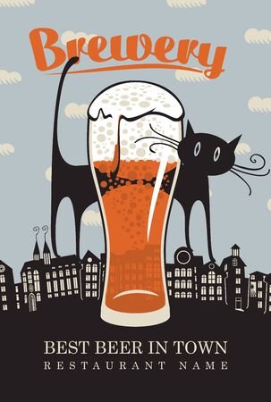 beer house: banner for the brewery with a cat on the roofs of the old town and a glass of beer