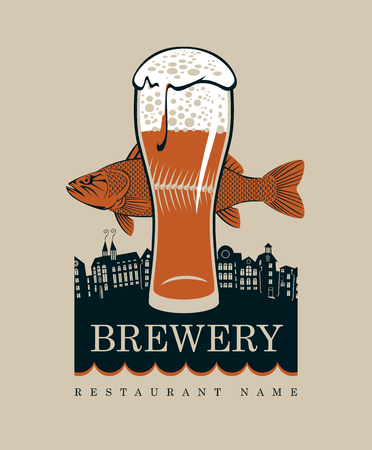 beer house: banner with a glass of beer and a fish on a background of the old town Illustration
