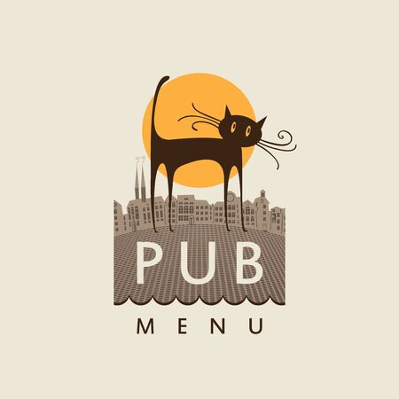brasserie: banner for the pub with a cat on old town and a sun