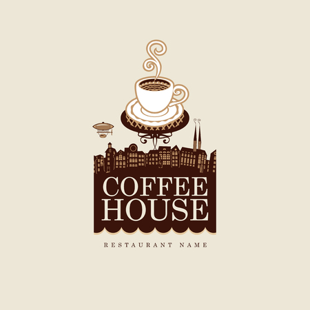 old town house: banner for coffee house with cup against the backdrop of the old town