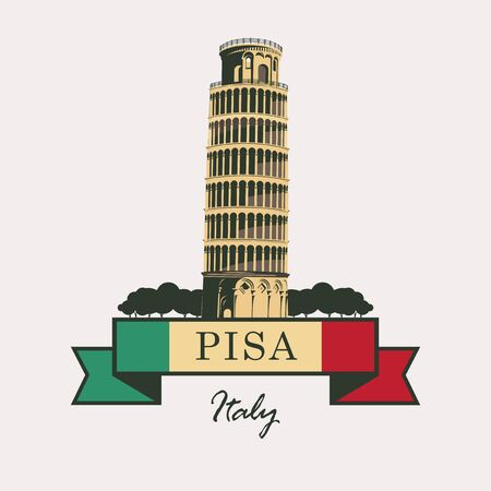 leaning tower: Leaning Tower of Pisa with Italian flag Illustration