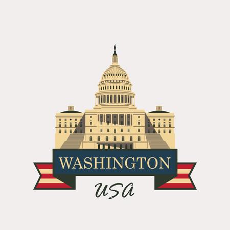 ベクトルとアメリカ国旗のイラストにワシントン DC の国会議事堂の建物