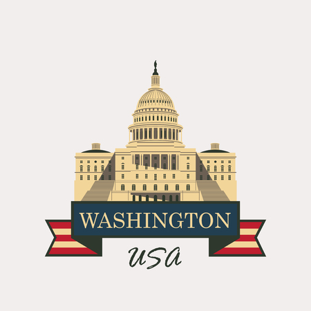 congress: Vector illustration Capitol Building in Washington, DC with flag USA