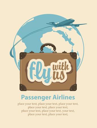 La bandera con una maleta de viaje y las palabras de volar con nosotros, avión de pasajeros y el planeta Tierra Ilustración de vector