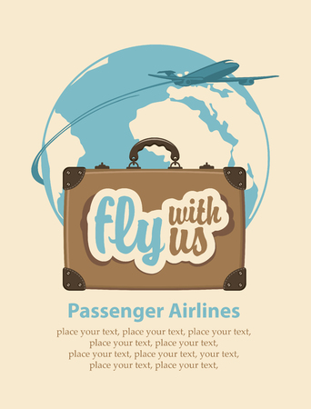Banner with a travel suitcase and the words fly with us, passenger plane and planet Earth