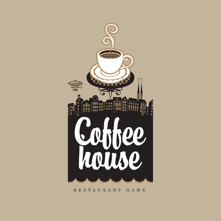coffee house: banner for coffee house with cup against the backdrop of the old town