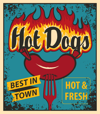hot: vector banner with hot dog in retro style sausage and fire on fork