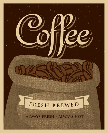 hause: Retro banner with a bag of fabric coffee beans