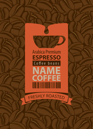 bean: design label for coffee beans with cup Illustration