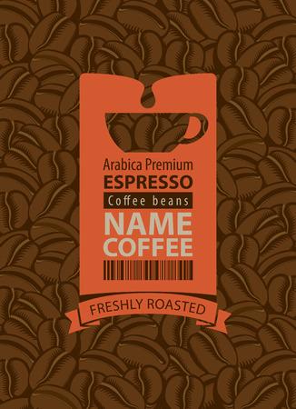 chicchi di caff?: Etichetta di progettazione per i chicchi di caffè con la tazza