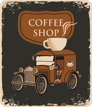 bandiera retrò con auto e tazza di caffè sul tetto