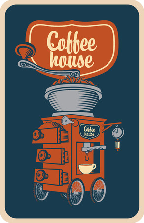 coffee grinder: surreal coffee grinder with cup on wheels in a retro style