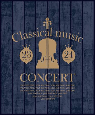 affiche pour un concert de musique classique avec le violon sur le fond des planches de bois Vecteurs