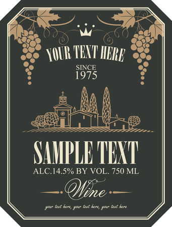 driveway: wine label with a landscape of vineyards and Italian village and a bunch of grapes
