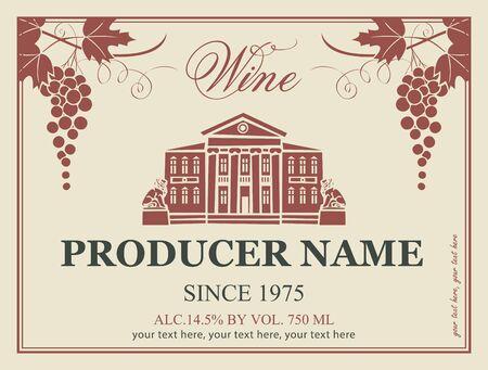 etiqueta del vino imagen de estilo retro de una casa con estatuas de leones y uvas