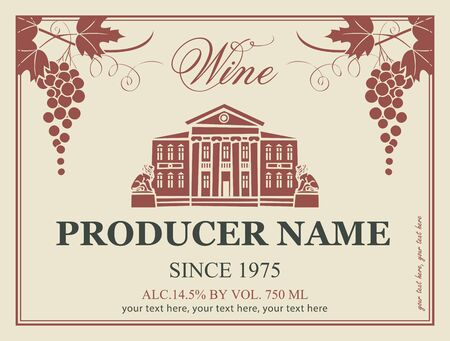 wine label in retro style image of a house with statues of lions and grapes