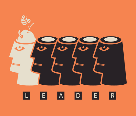 motivator: business concept on the topic of leadership ideas and creativity with a human head