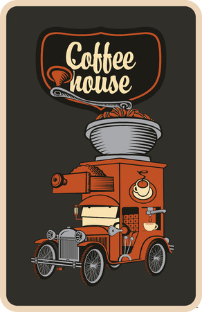 coffee grinder: retro banner with car and coffee grinder on roof