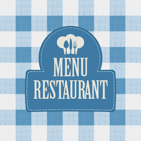 diners: banner for menu cafe or restaurant with a chefs hat and drawing diners spirit-levels against the background of a checkered tablecloth