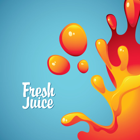 jugo de frutas: pancarta con la inscripción zumos y gotas frescas y salpicaduras