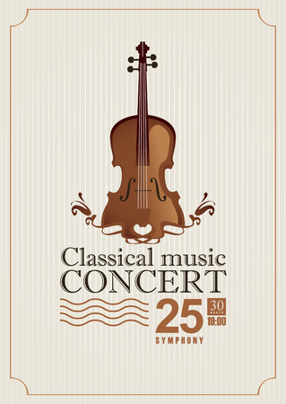 playbill: poster for a concert of classical music with violin Illustration