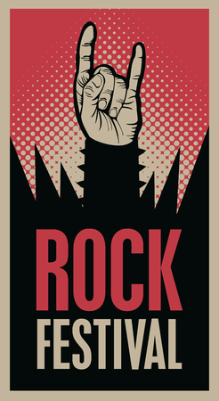 Hand in rock n roll sign and an inscription rock festival Illustration