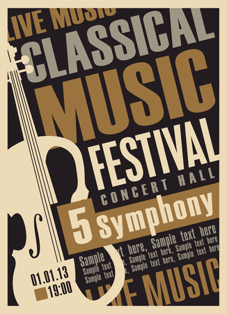 classics: poster for a concert of classical music with violin Illustration