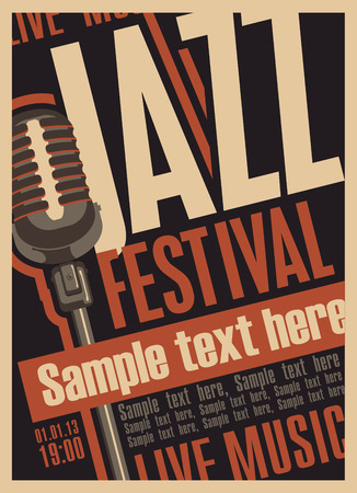 brass band: Poster for the jazz festival with a retro microphone Illustration