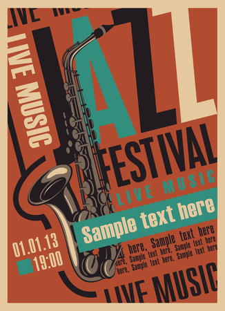 brass: poster for the jazz festival with a saxophone in retro style