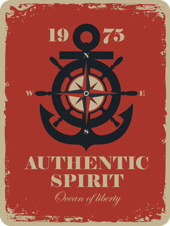 spirits: banner with an anchor and Rose of Wind, and the authentic spirit of the inscription