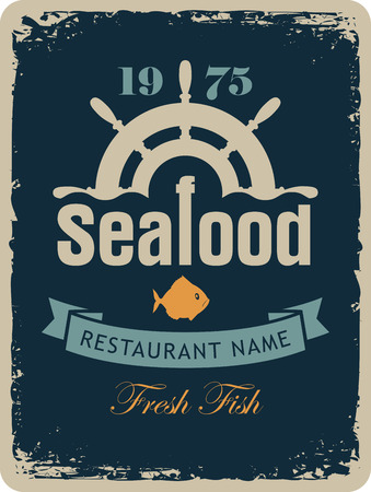 helm: banner for the seafood restaurant with a ship helm and fish in a retro style