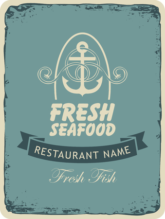 cafe menu: Retro banner for a seafood restaurant with an anchor and ropes Illustration
