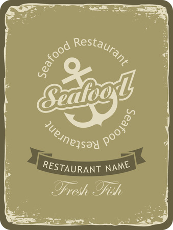 retro restaurant: Retro banner for a seafood restaurant with an anchor Illustration