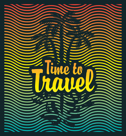coastline: banner on the tourism theme with palm trees sea and the inscription time travel