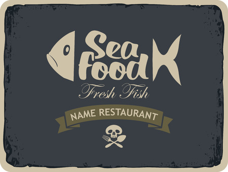 jolly roger: Retro banner for seafood restaurants with fish and Jolly Roger skull and cutlery