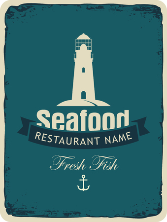 retro restaurant: Retro banner for a seafood restaurant with a lighthouse and an anchor Illustration