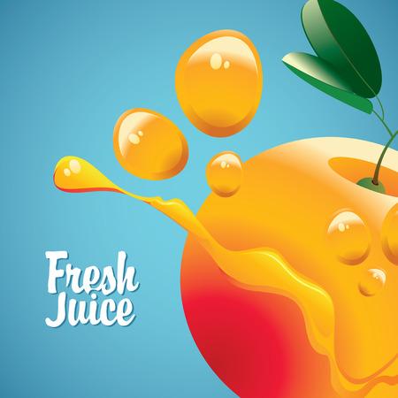 vector banner with orange fruit and fresh juice splash