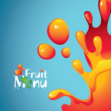yellow orange: vector banner with the inscription fruit menu and drops and splashes fresh juices Illustration