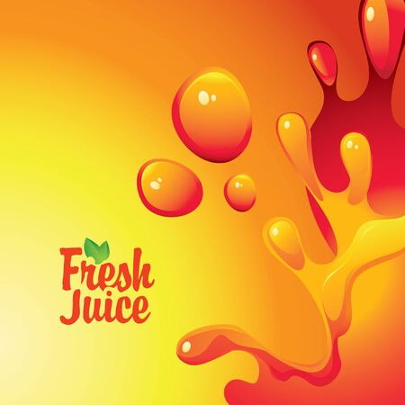 soda splash: vector banner with the inscription fresh juices and drops and splashes Illustration