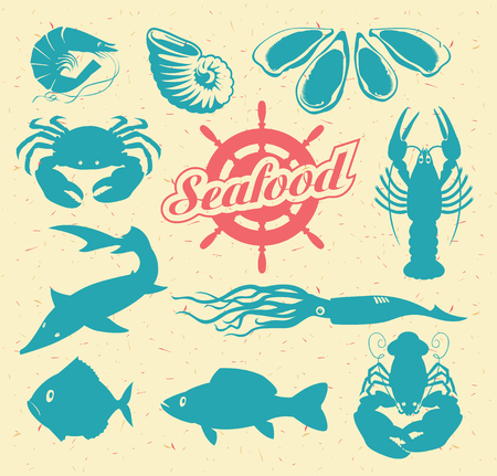 sturgeon: set of vector drawing animals on the theme of seafood